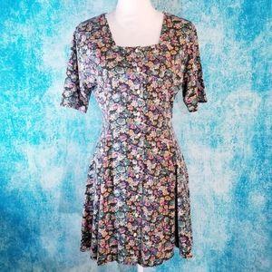 VTG 90s Crazy 4 U Floral Square Neck Button Dress